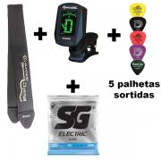 Kit Encordoamento SG guitarra 0.11 + Correia + Afinador + 5 Palhetas Sortidas