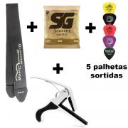 Kit Encordoamento SG Violão 0.09 + Correia + Capotraste + 5 Palhetas Sortidas