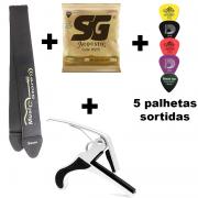 Kit Encordoamento SG Violão 0.11 + Correia + Capotraste + 5 Palhetas Sortidas