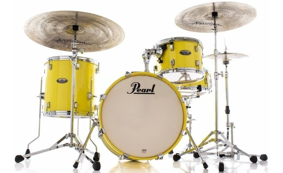 Bateria Pearl Decade Maple Bop Jazz Solid Yellow Bumbo 18 Shell Pack