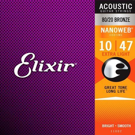 Encordoamento Elixir Violão Aço 0.10 Nanoweb 80/20