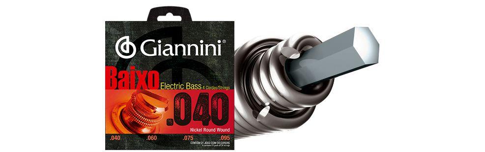 Encordoamento Giannini Baixo 4 Cordas 0.40 GEEBRL