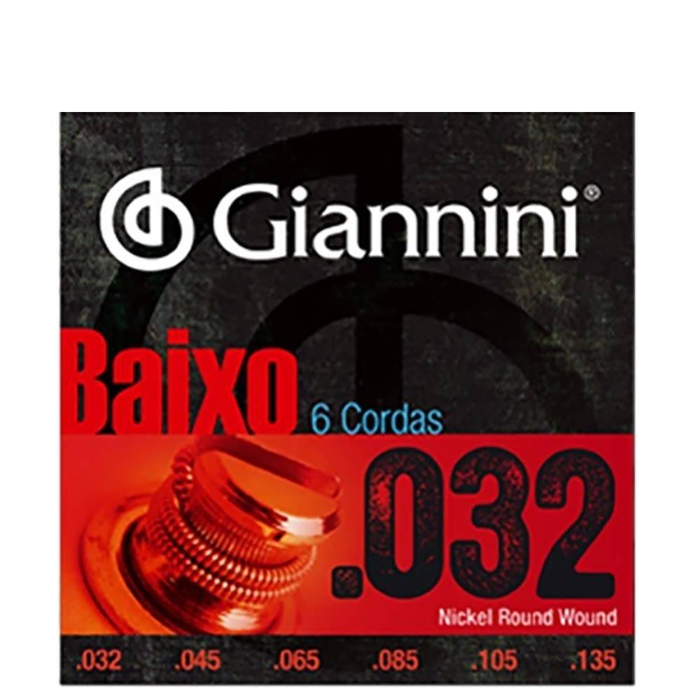 Encordoamento Giannini Baixo 6 Cordas 0.32 GEEBRS6