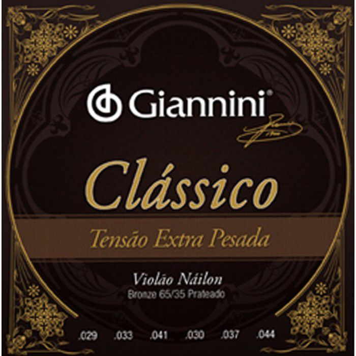 Encordoamento Giannini Clássico Violão Nylon Extra Pesada GENWXPA