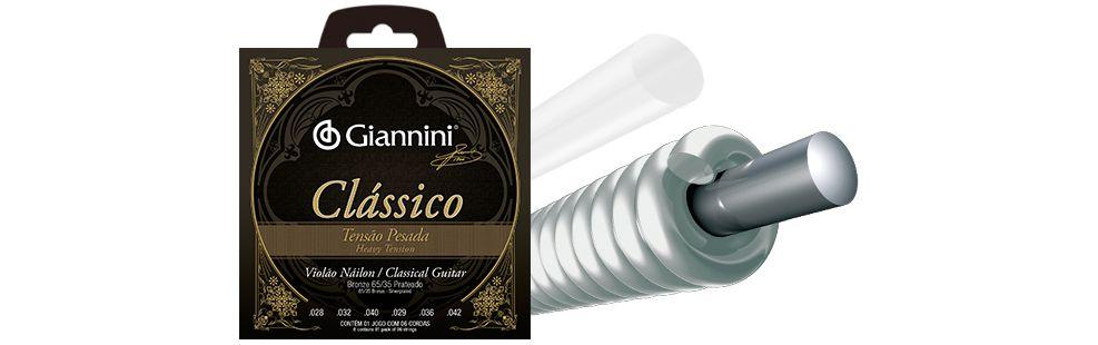 Encordoamento Giannini Clássico Violão Nylon Pesada GENWPA