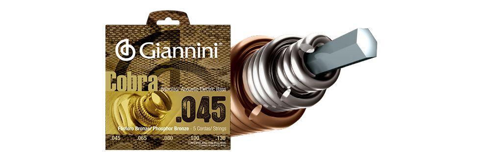 Encordoamento Giannini Cobra Baixolão 5 Cordas 0.45 GEEBASF5
