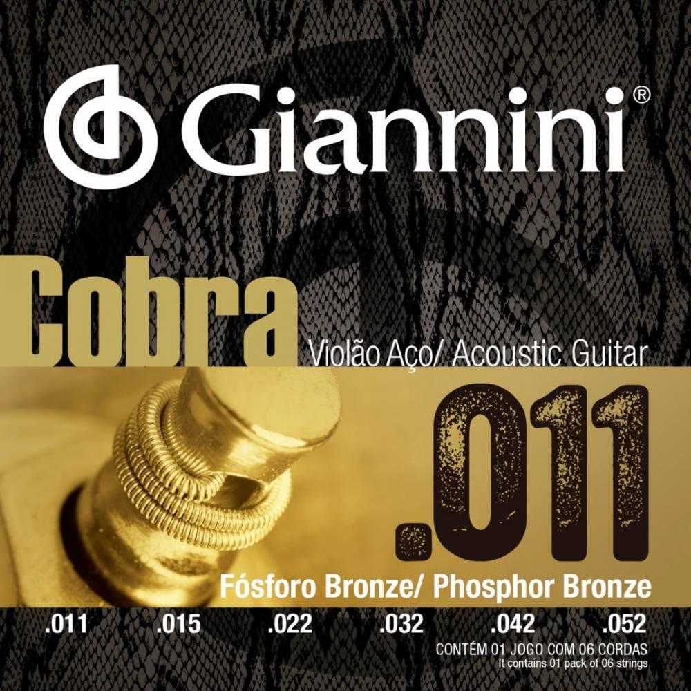 Encordoamento Giannini Cobra Violão Aço 011 GEEFLKF Fósforo Bronze