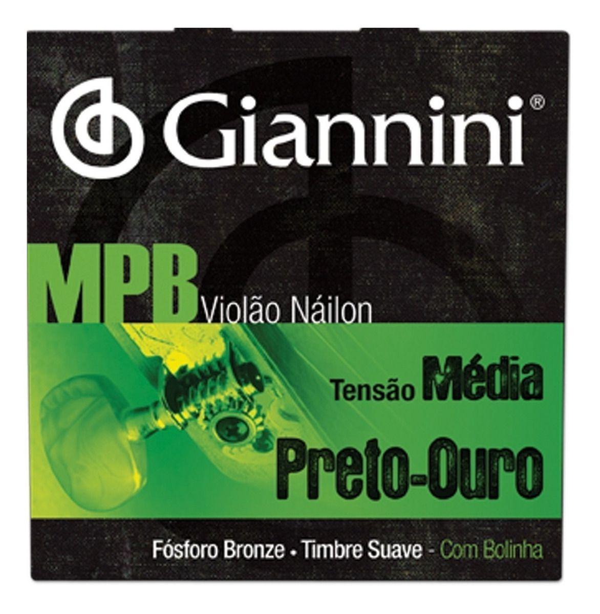 Encordoamento Giannini MPB Violão Nylon Preto GENWBG