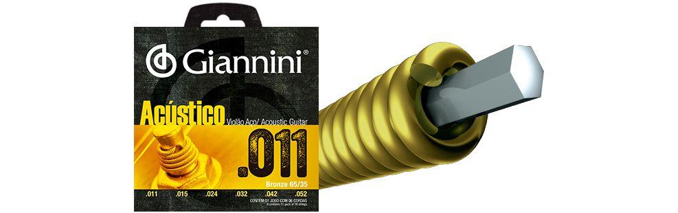 Encordoamento Giannini Violão Aço Bronze 0.11 GESPW