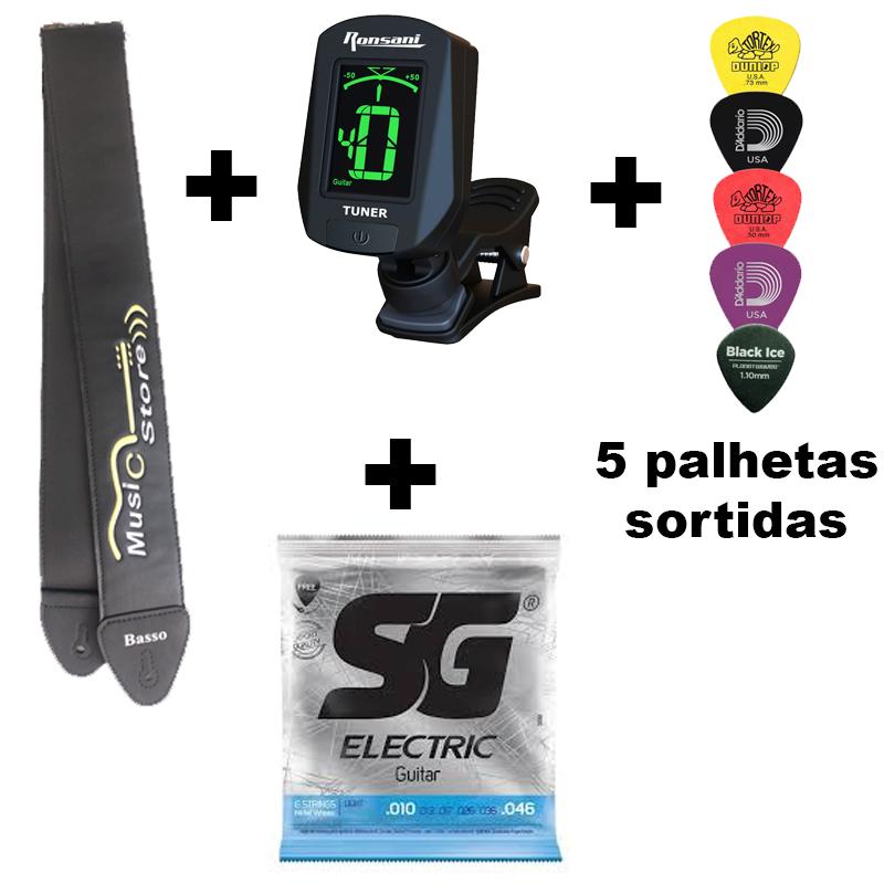 Kit Encordoamento SG guitarra 0.10 + Correia + Afinador + 5 Palhetas Sortidas