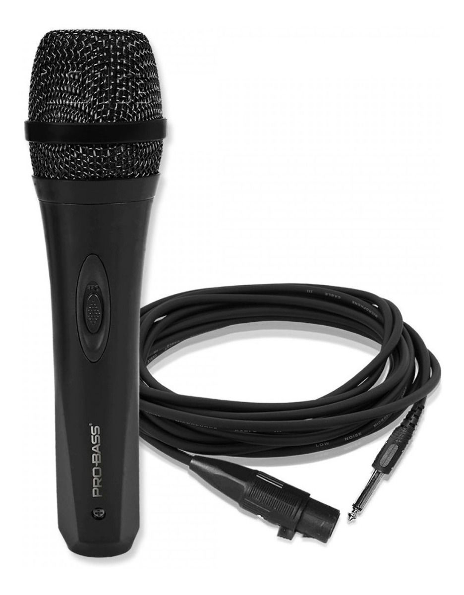 Microfone De Mão Com Fio Probass Pro Mic 500 Dinamico