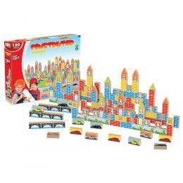 Blocos de Montar - Construtor - 120 peças - Madeira - Junges Brinquedos