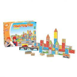 Blocos de Montar - Construtor - 40 Peças - Madeira - Junges Brinquedos