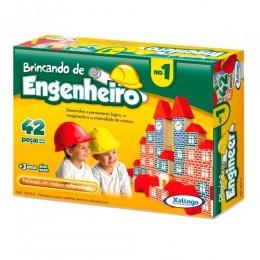 Brincando de Engenheiro - 42 Peças Em Madeira - Xalingo