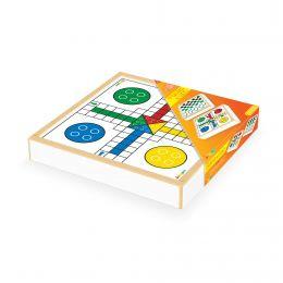 Jogo Damas e Ludo - Caixa de Madeira - Junges Brinquedos