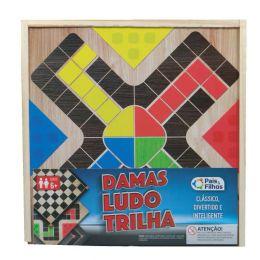 Jogo Damas, Ludo e Trilha - Caixa de Madeira - Pais e Filhos