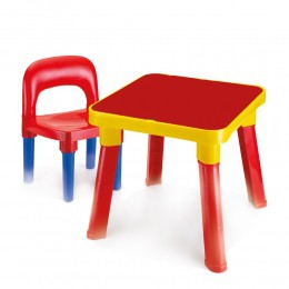 Mesa Infantil Com Cadeira - Vermelha e Amarela - Monte Líbano