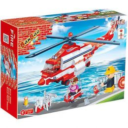 Blocos de Montar - Super Helicóptero Resgate dos Bombeiros - 372 Peças - BanBao