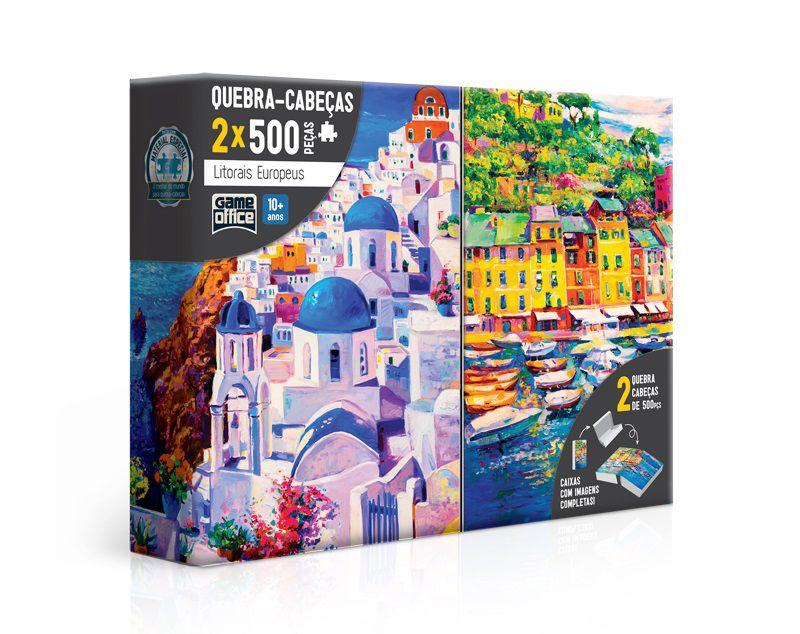 2 Quebra-Cabeças - Litorais Europeus Grécia e Itália - 2x 500 Peças - Toyster