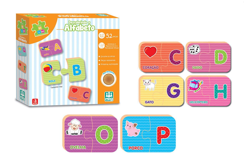 Descobrindo o Alfabeto - Coleção Be a Bá - Em Madeira - Nig Brinquedos