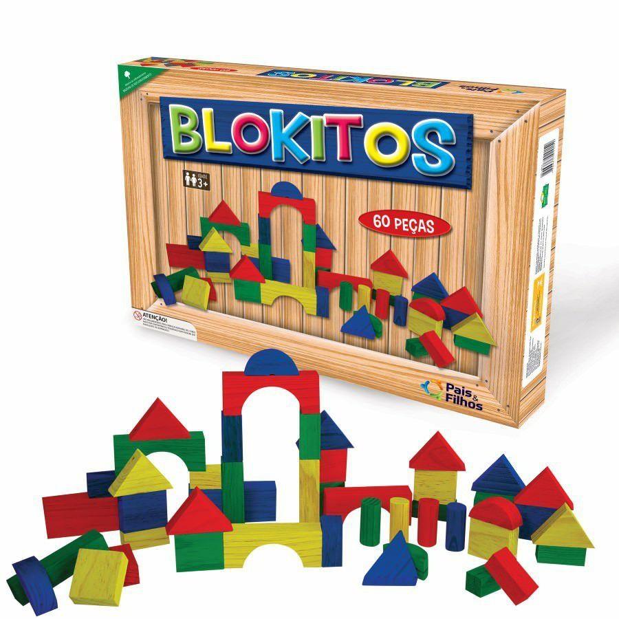 Blocos de Madeira - Blokitos - 60 peças - Pais e Filhos
