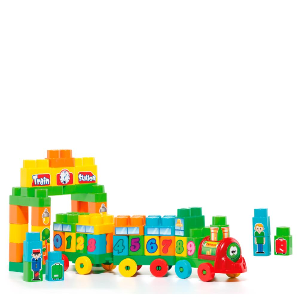 Blocos de Montar - 70 Peças - Trenzinho -  Baby Land - Cardoso Brinquedos