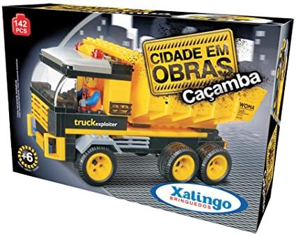 Blocos de Montar - Cidade em Obras - Caçamba -  142 Peças - Xalingo