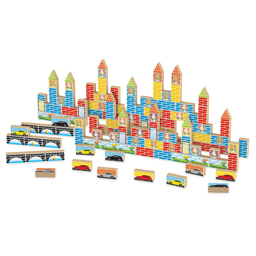 Blocos de Montar - Construtor - 80 Peças - Madeira - Junges Brinquedos