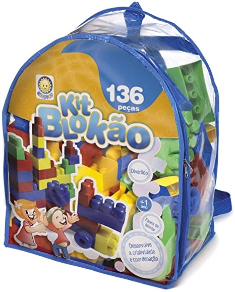 Blocos de Montar - Kit Blokão - 136 Peças - Azul - Kitstar