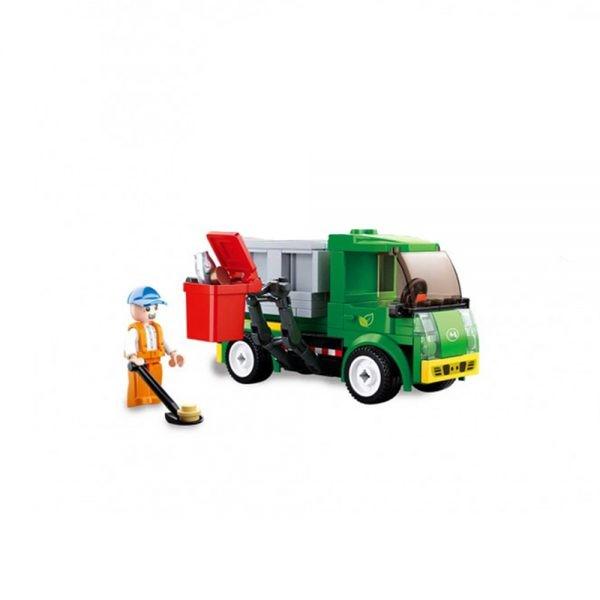 Blocos para Montar - 118 peças - Caminhão do Lixo - Coleta Seletiva - Xalingo