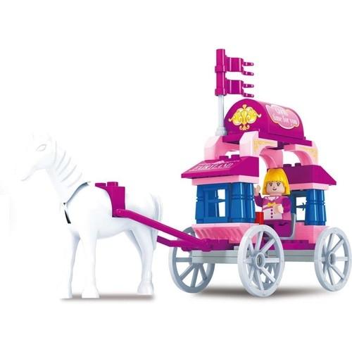 Blocos para Montar - Reino dor de Rosa - Carruagem - 57 Peças - Xalingo