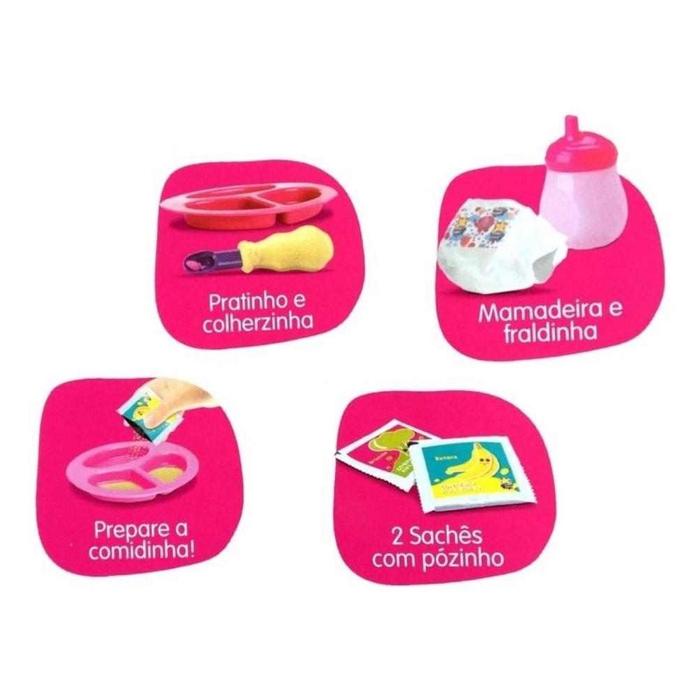 Boneca My Little Colection - Primeira Papinha - Negra - Diver Toys