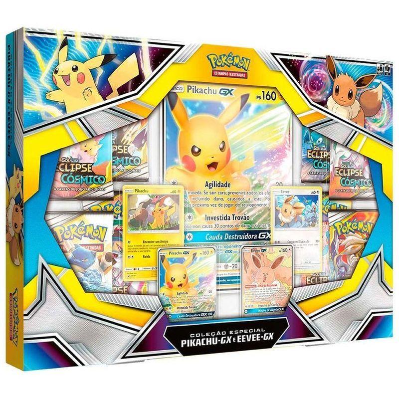 Box Pokémon - Coleção Especial - Pikachu-GX - Eevee-Gx - Copag