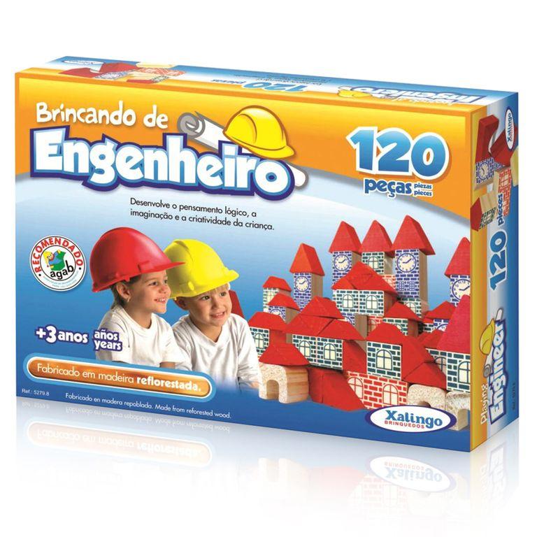 Brincando de Engenheiro - 120 Peças Em Madeira - Xalingo