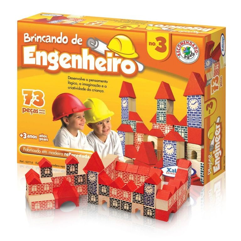 Brincando de Engenheiro - 73 Peças Em Madeira - Xalingo