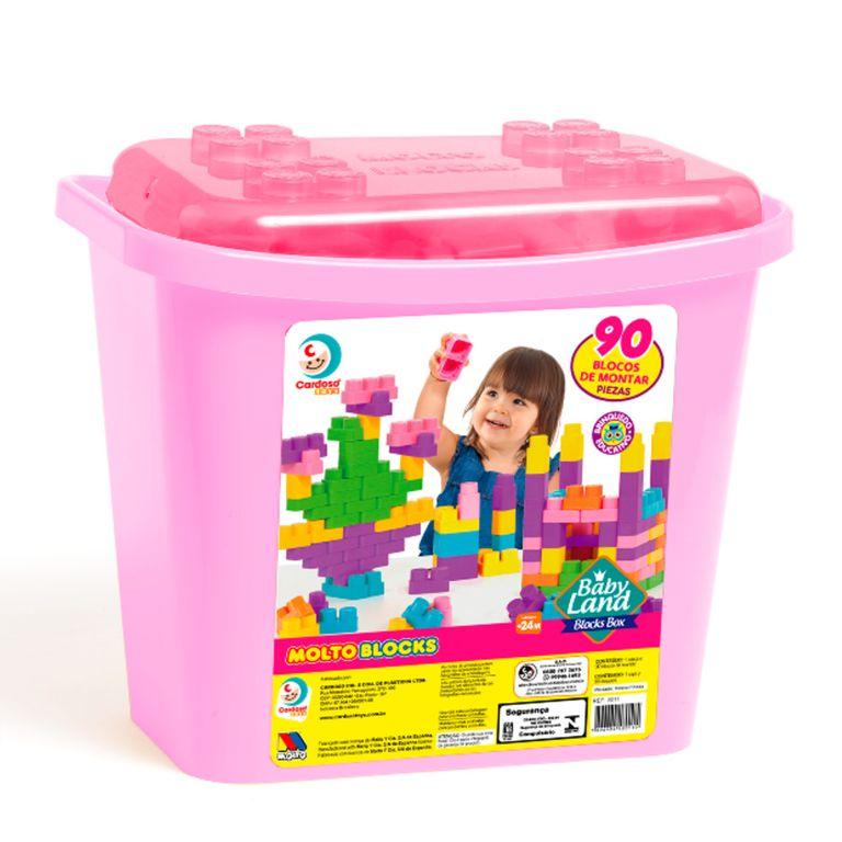 Brinquedo Educativo - Blocks Box - 90 Peças - Menina - Cardoso Brinquedos