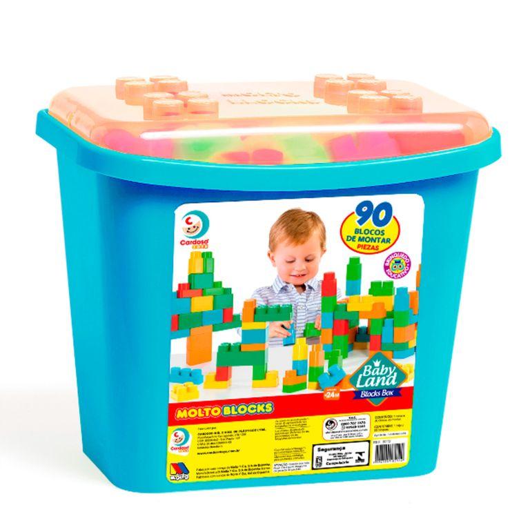 Brinquedo Educativo - Blocks Box - 90 Peças - Menino - Cardoso Brinquedos