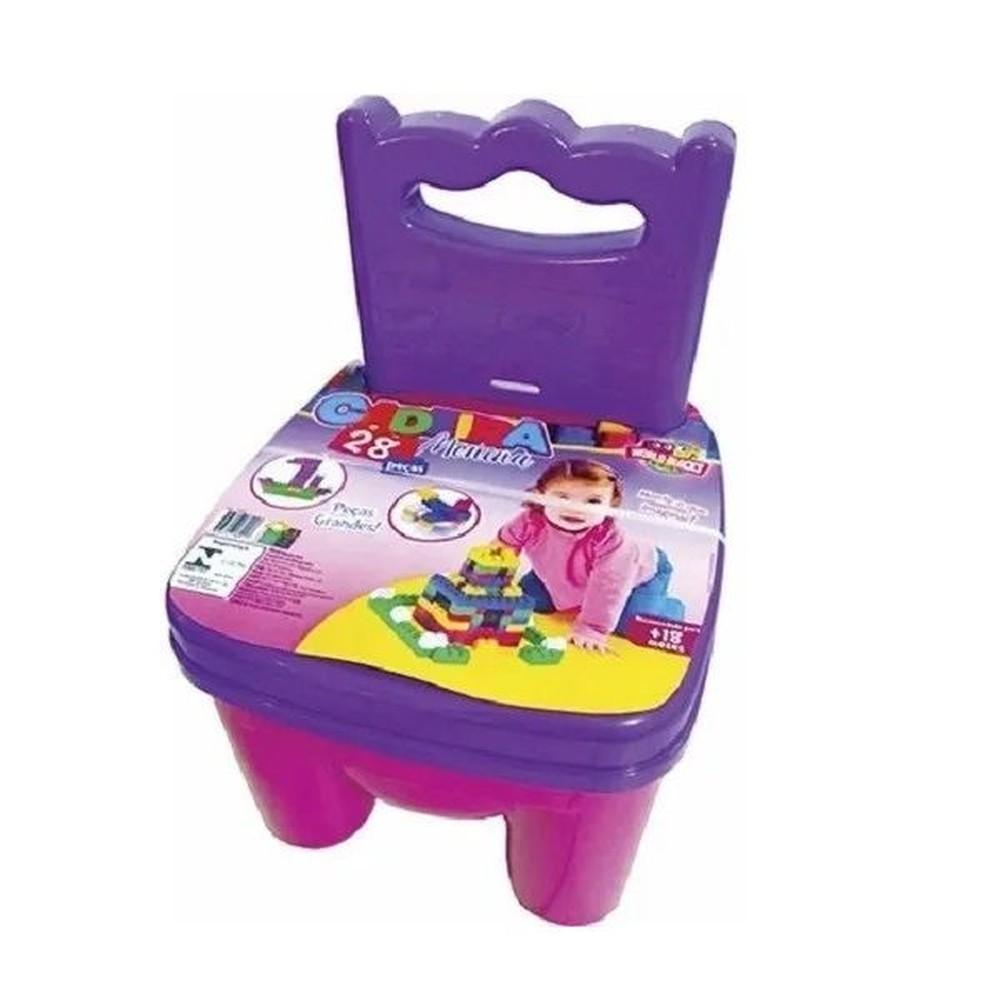 Cadeirinha - 28 peças - Peças Grandes - Rosa e Roxo - World Blocks