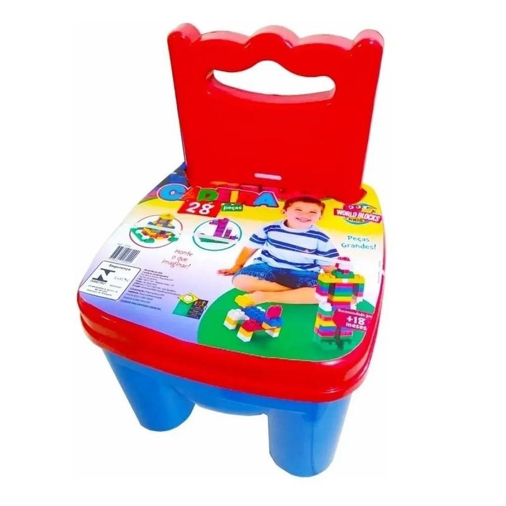 Cadeirinha - 28 peças - Peças Grandes - Azul e Vermelha - World Blocks