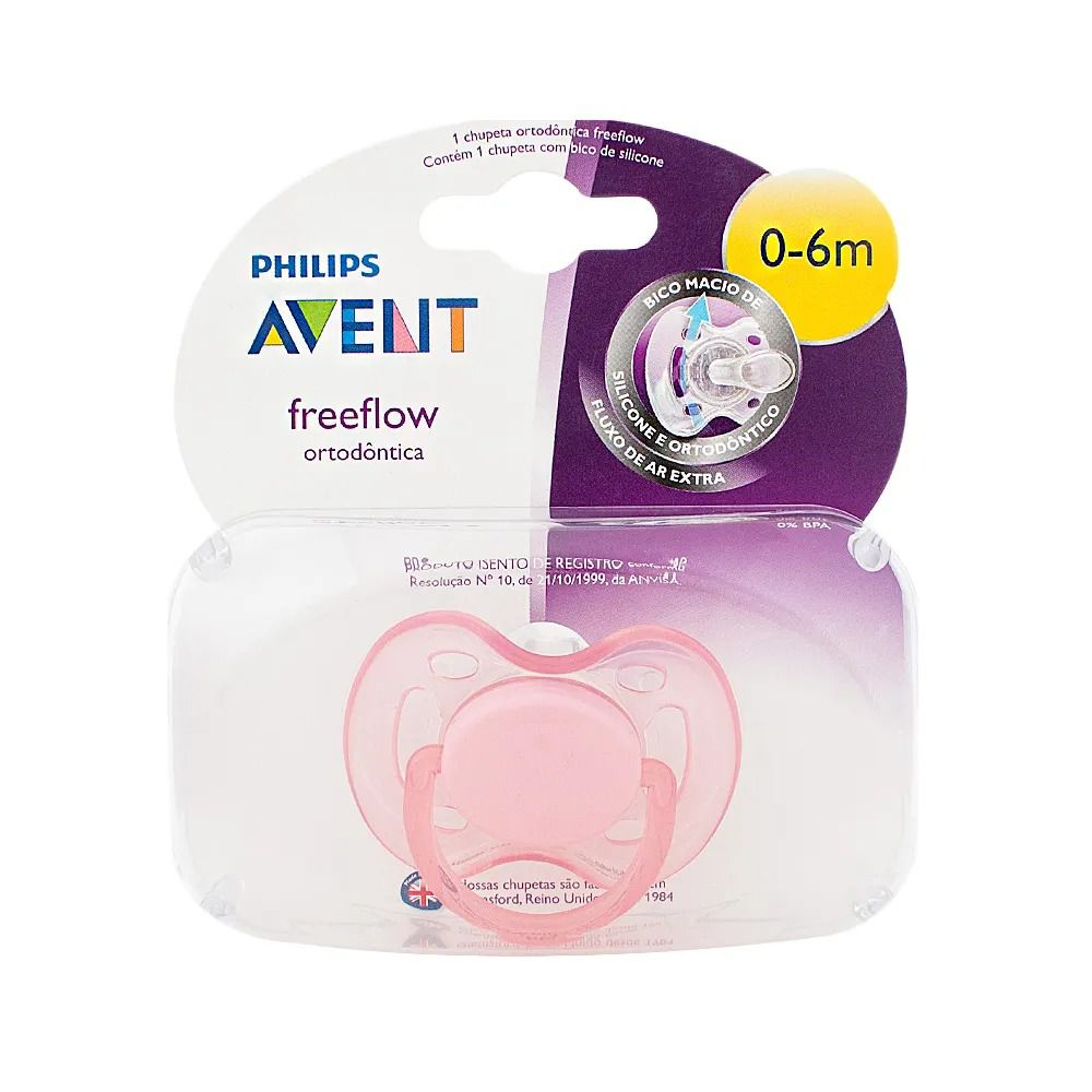 Chupeta Freeflow Rosa - (0 a 6 meses) - Philips Avent