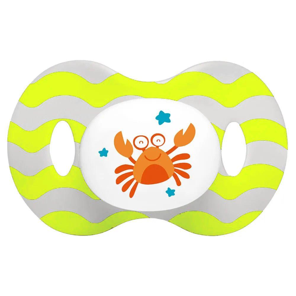 Chupeta Ocean - Verde e Branca - Tamanho 1 (0 à 6 meses) - Multikids Baby