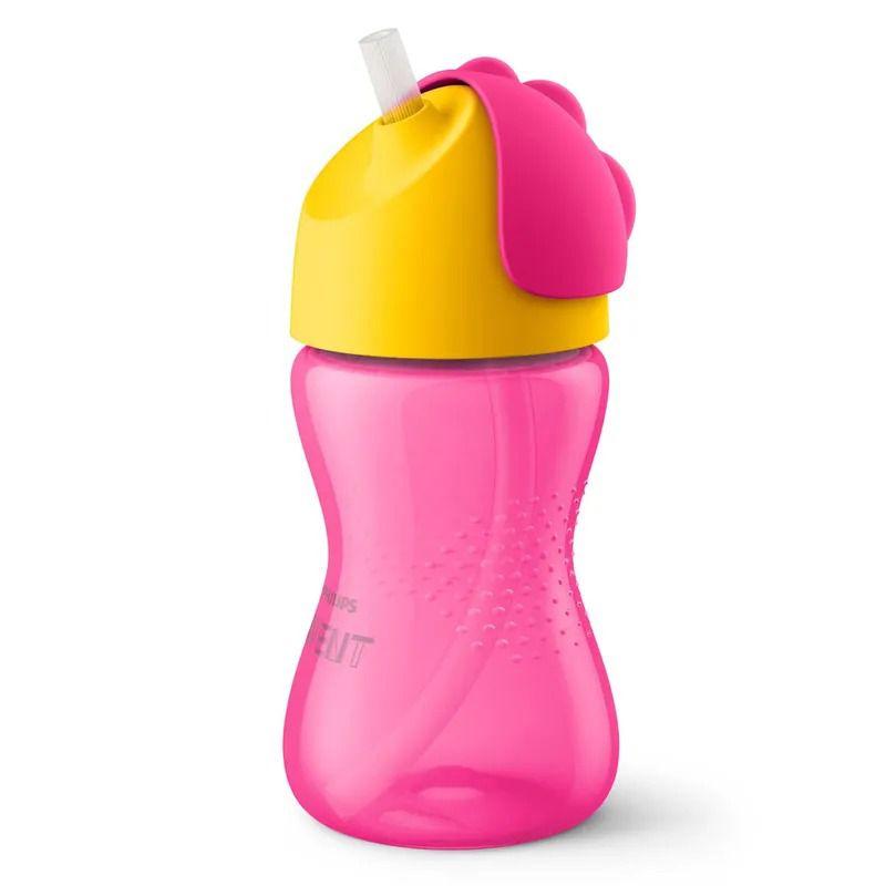 Copo com Canudo - Dinossauro Rosa e Amarelo - 300 ml - (+ 12 meses) - Philips Avent
