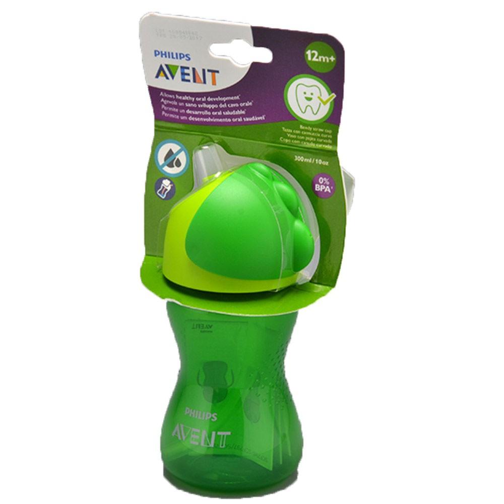 Copo com Canudo - Dinossauro Verde - 300 ml - ( +12 meses) - Philips Avent