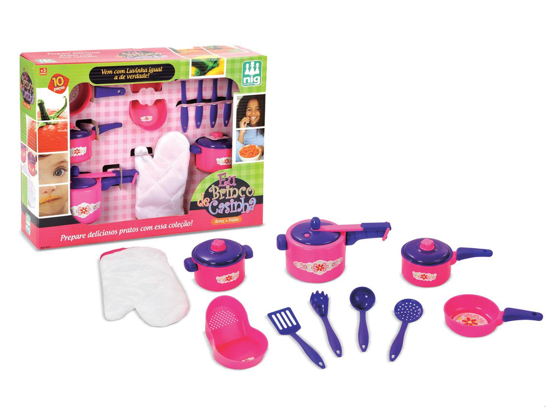 Kit de Panelas - Arroz e Feijão - Eu Brinco de Casinha - Nig Brinquedos