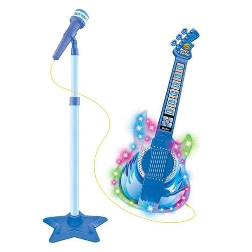 Guitarra Com Microfone - Azul - DM Toys