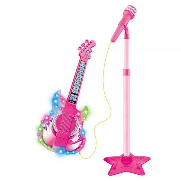 Guitarra Com Microfone - Rosa - Rock Show - DM Toys