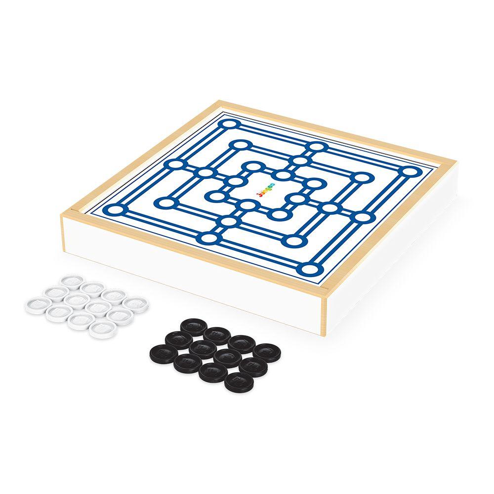 Jogo Damas e Trilha - Caixa de Madeira - Junges Brinquedos