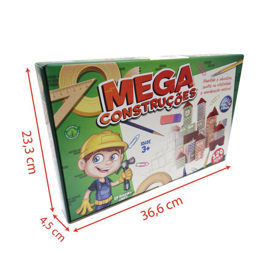 Blocos de Madeira - Mega Construções - 120 peças - Pais e Filhos