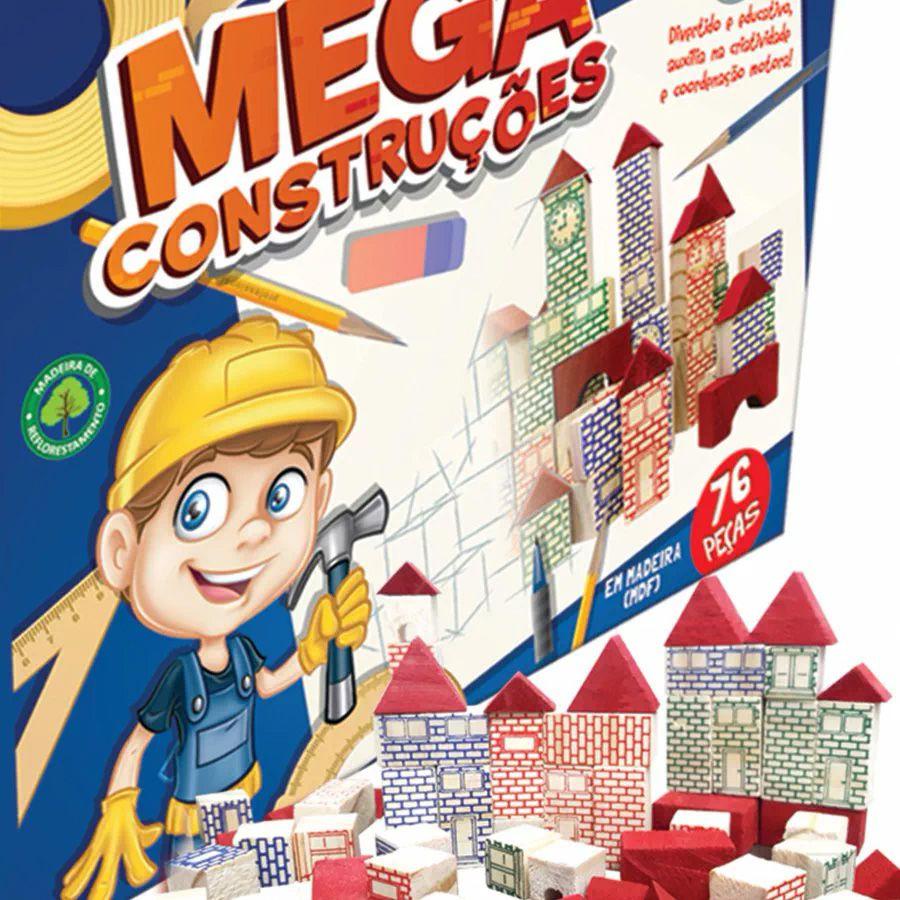Blocos de Madeira - Mega Construções - 76 peças - Pais e Filhos
