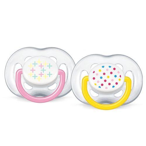 Kit 2 Chupetas - Contemporânea - Rosa E Amarelo - (6 a 18 meses) - Philips Avent